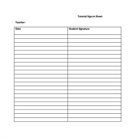 student sign in sheet 7 student sign in sheets sle templates