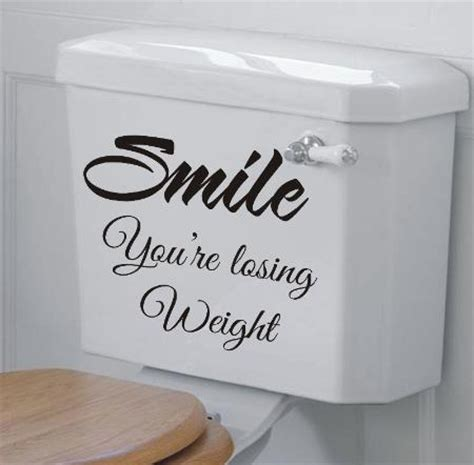 Smile you re losing weight funny bathroom wall art sticker quote bathroom decor funny wall tsc
