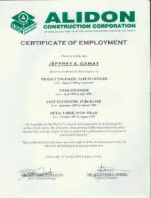 Certification Letter Of Work Employment Certificate