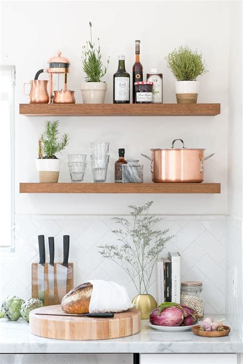 kitchenshelves com how to set up your kitchen copper open shelving and cakes