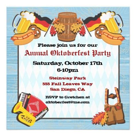 oktoberfest party invitation on old wood backgroun