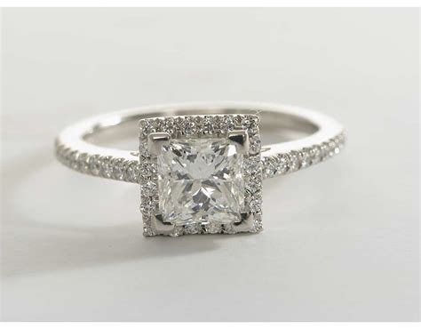 princess cut halo diamond engagement ring  platinum