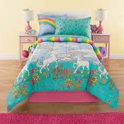 6 piece girls rainbow comforter set twin unicorn