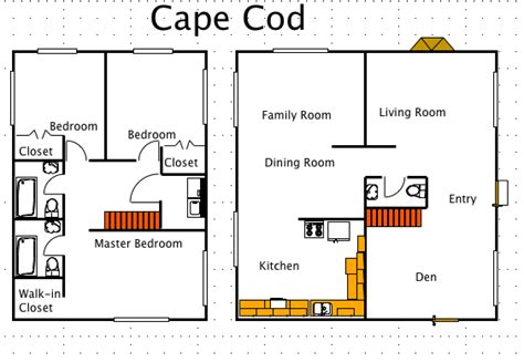 cape cod house style a free ez architect floor plan for