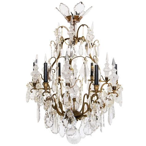 chandeliers lewis louis xv style bronze and glass six light chandelier at