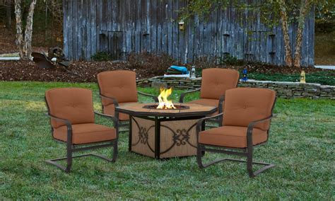 Palm Bay 5 pc Outdoor Dining Set with Fire Pit   The Dump