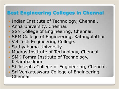 Mba In Information Technology Colleges In Chennai by Top 10 Engineering Colleges In Chennai India