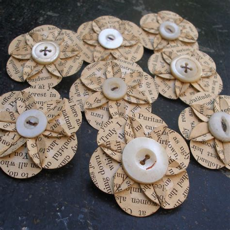 How To Make Paper Flowers Out Of Book Pages - recycled vintage book page paper flower brooch folksy