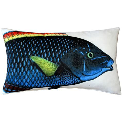 Fish Pillow by Blue Wrasse Fish Pillow 12x20