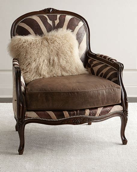 blue animal print chair massoud titus zebra print bergere chair