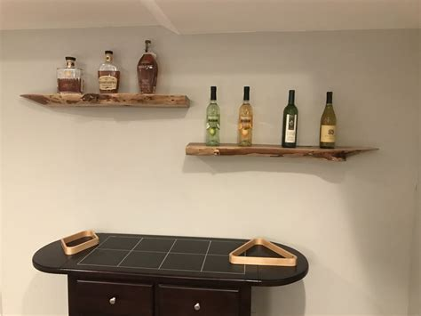 maple live edge slab floating bar shelves by durbs75