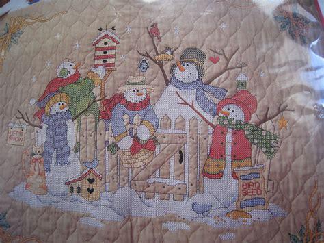Sted Cross Stitch Quilt Kits by Sted Cross Stitch Quilt Kit Snow Folk Snowmen Blanket Nip Ebay