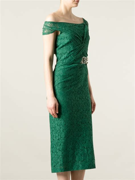 Lace Dress Green lyst burberry prorsum floral lace dress in green