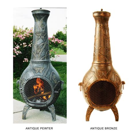 Retro Chiminea Butterfly Cast Iron Chiminea Patio Fireplace