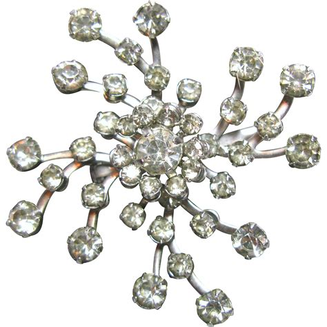 Rhinestone Snowflake Brooch vibrant vintage pinwheel or snowflake prongset rhinestone