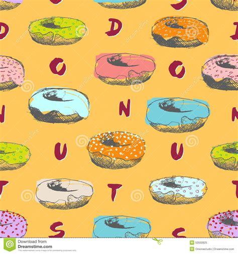 doodlebug donuts doodle donuts pattern vector illustration cartoondealer