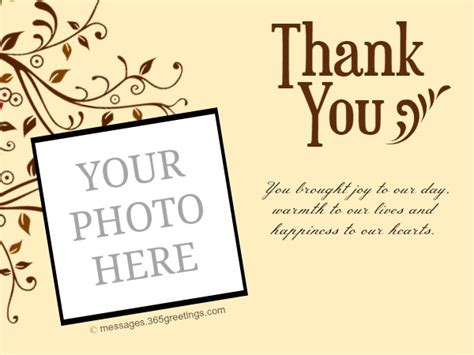 wedding photo thank you card template free personalized wedding thank you card 365greetings