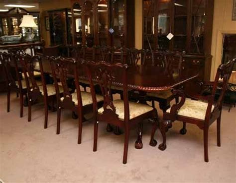 mahogany chippendale dining table with 10 chairs