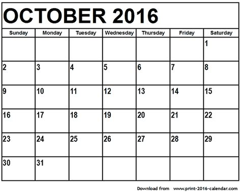printable calendar for october search results for print monthly calendar april 2016
