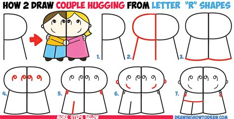 how to draw and boy hugging from