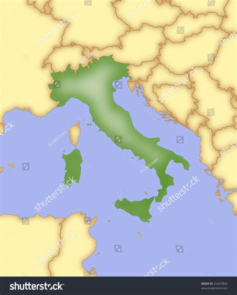map of italy and surrounding countries map of italy with borders of surrounding countries stock