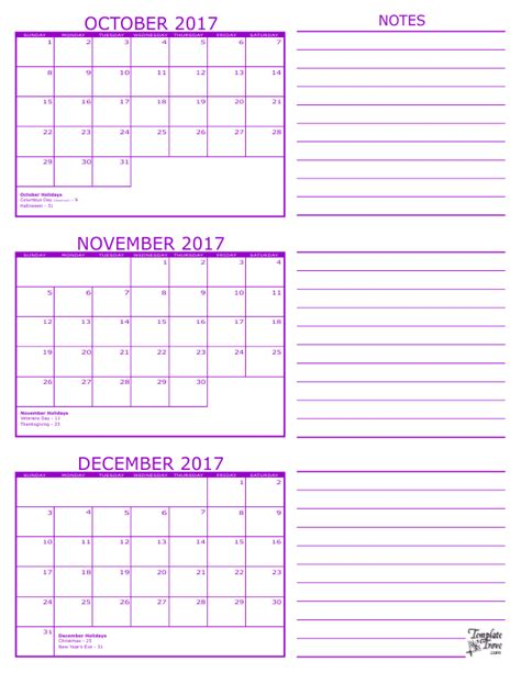 printable calendar for october november and december 2017 3 month calendar 2017
