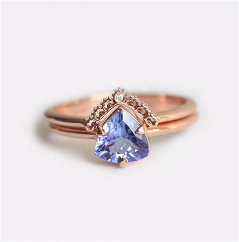 Rose Gold Engagement Ring, Tanzanite Engagement Ring, Tanzanite Wedding Ring Set, Tanzanite Ring
