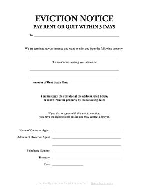 Ohio 3 Day Eviction Notice Form Three Day Notice Template