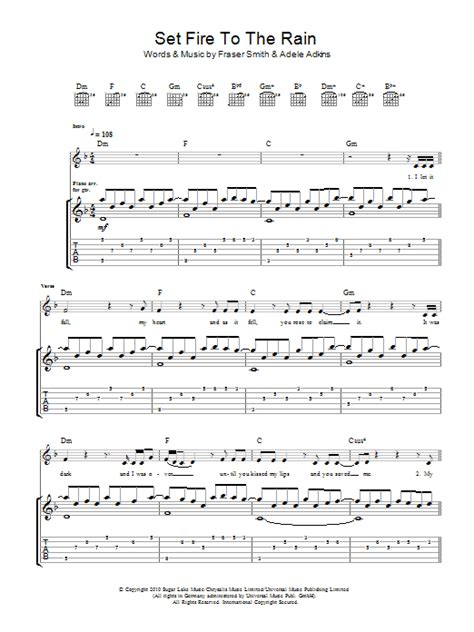 set fire to the rain by adele guitar chords lyrics set fire to the rain by adele guitar tab guitar instructor