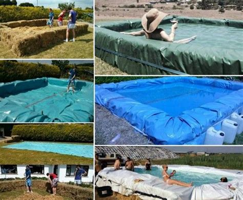 how to build a hay bale swimming pool diy tutorial showing how to make a hay bale swimming pool