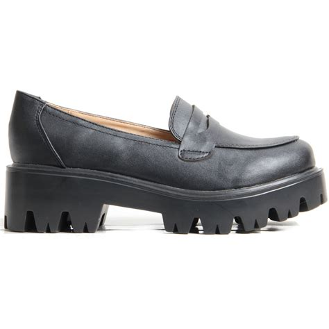 chunky loafer shoes cleated chunky platform sole flat loafer