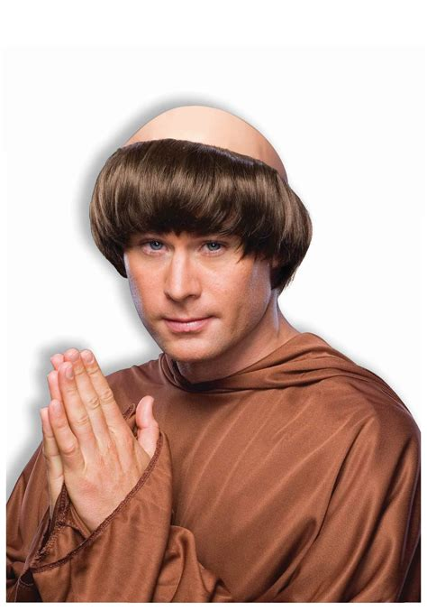 friar tuck brown monk wig mens monk costume accessory