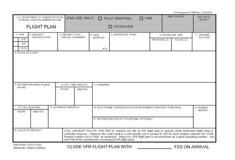 flight plan template flight plan template