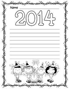 new year themed paper border design green and green on