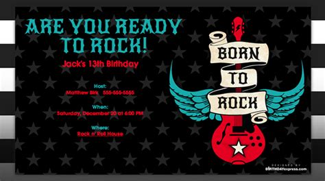 free printable rock and roll birthday invitations template