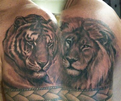 tiger and lion tattoo designs black and gray and tiger by sal tino tattoonow
