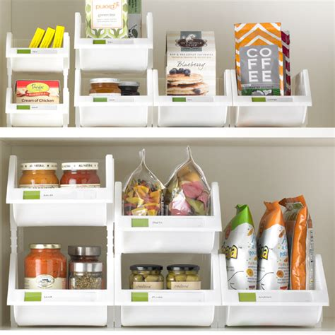 kitchen cabinet storage containers stacking bins the container store