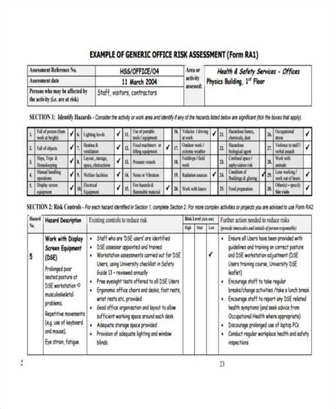 building security risk assessment template 8 risk assessment form sles free sle