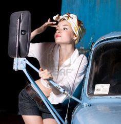 Emiko Wash pin up on pin up pin up and vintage cars