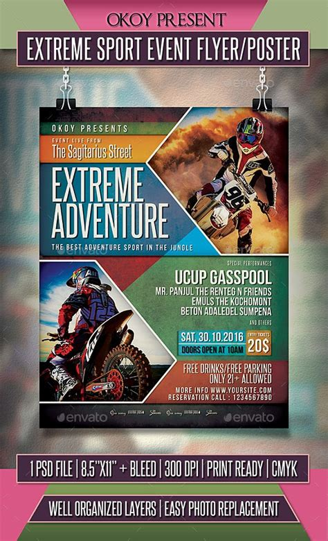 extreme sport event flyer poster extreme sports event
