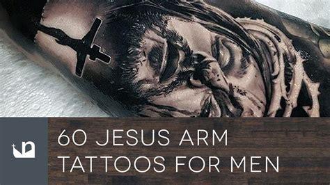 jesus tattoo on man s arm 60 jesus arm tattoos for men youtube