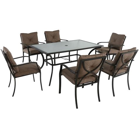 vgmgvista renava vista 7 pc outdoor dining table hanover palm bay 7 steel outdoor dining set with copper brown cushions palmbaydn7pc