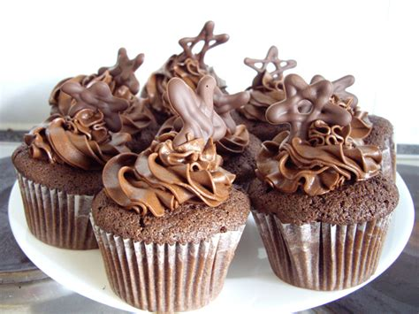 Handmade Chocolate Decorations - chocolate cupcakes chocolate sponge and buttercream with