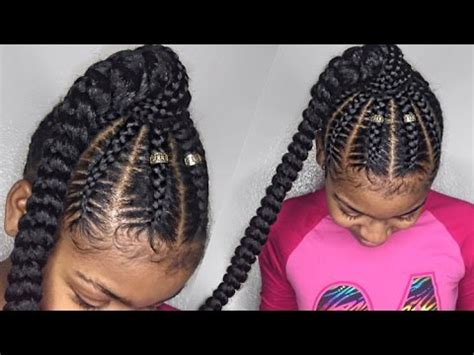 stitch braid ponytail on natural hair you