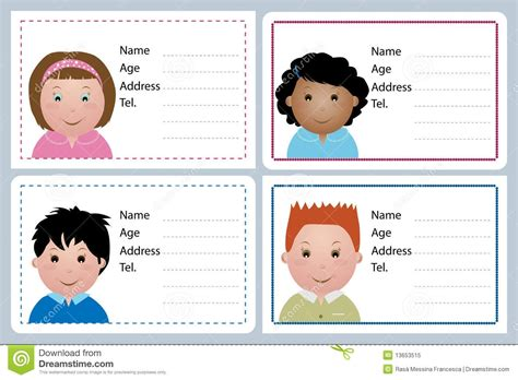 children s card templates child id card template free templates data