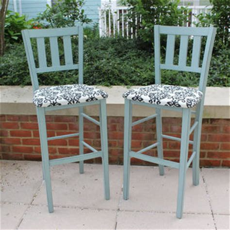 pair of shabby chic bar stools painted from blue wolf home