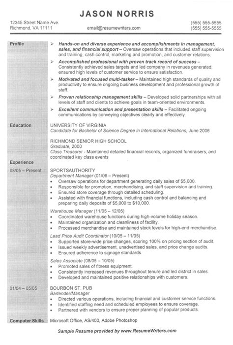 sle of objective in resume in general general retail resume sle slebusinessresume