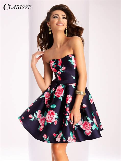 clarisse  floral print short homecoming dress french