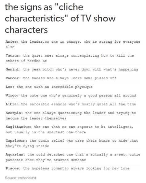 the signs as quot cliche characteristics quot of tv show