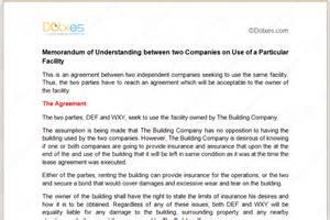 mou agreement template memorandum of understanding for particular facility